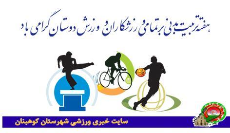 برنامه زمان بندی فعالیت های اداره ورزش و جوانان شهرستان کوهبنان به مناسبت هفته تربیت بدنی