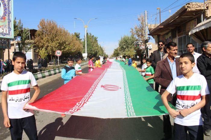 حضور پرشور جامعه ورزش و جوانان شهرستان کوهبنان در مراسم راهپیمایی ۱۳ آبان