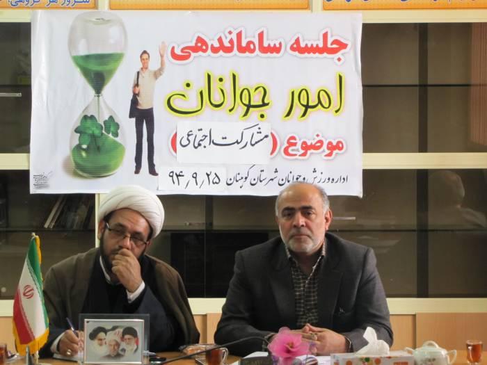 ششمین نشست اعضای  ستاد ساماندهی  امور جوانان  شهرستان کوهبنان